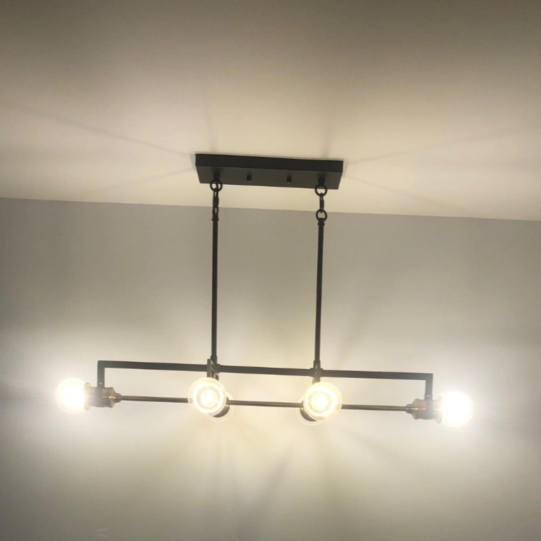 Industrial 6 Light Brass & Black Fixture - image-3