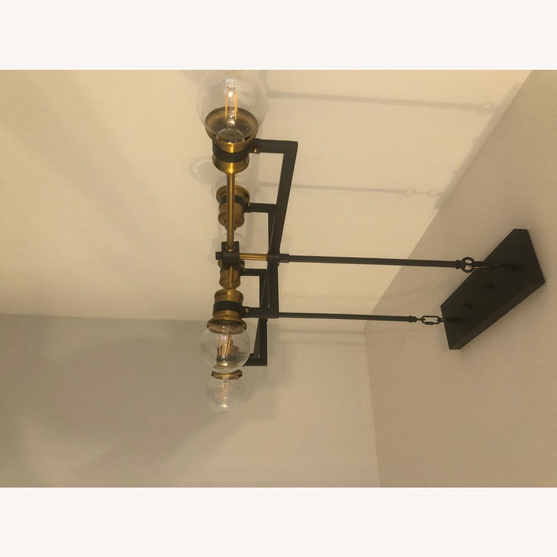 Industrial 6 Light Brass & Black Fixture - image-7