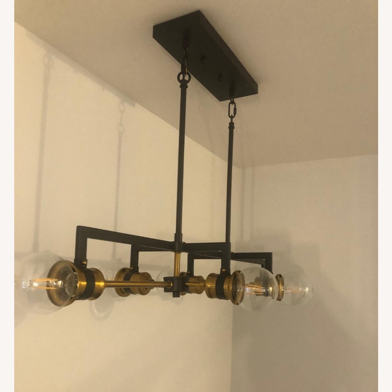 Industrial 6 Light Brass & Black Fixture - image-1