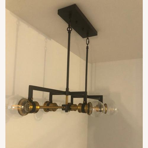 Used Industrial 6 Light Brass & Black Fixture for sale on AptDeco