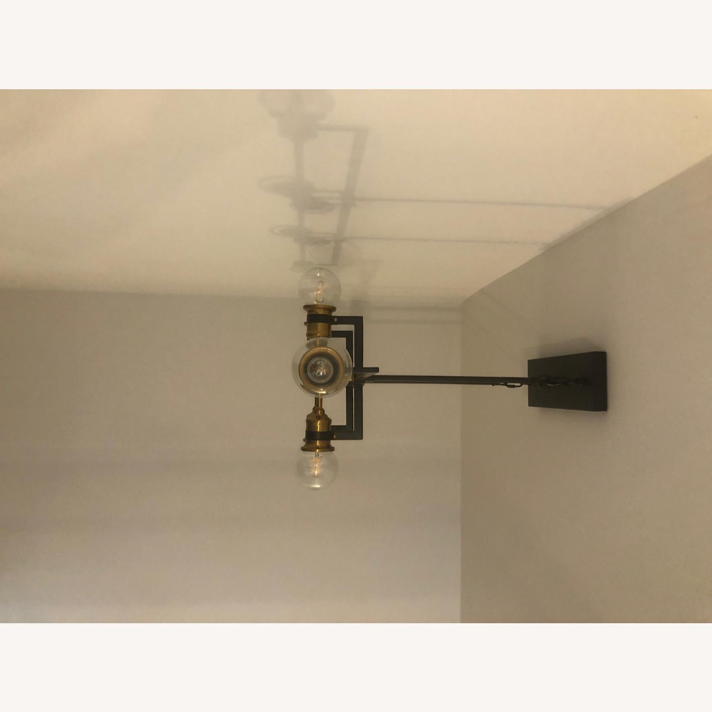 Industrial 6 Light Brass & Black Fixture - image-6