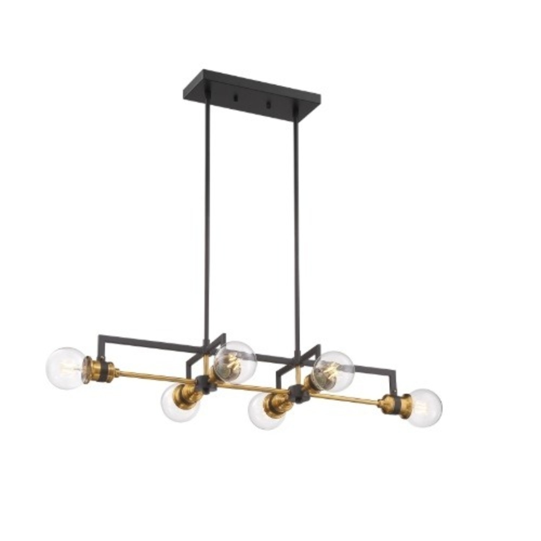 Industrial 6 Light Brass & Black Fixture - image-0