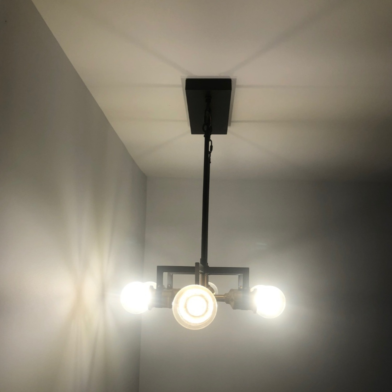 Industrial 6 Light Brass & Black Fixture - image-4