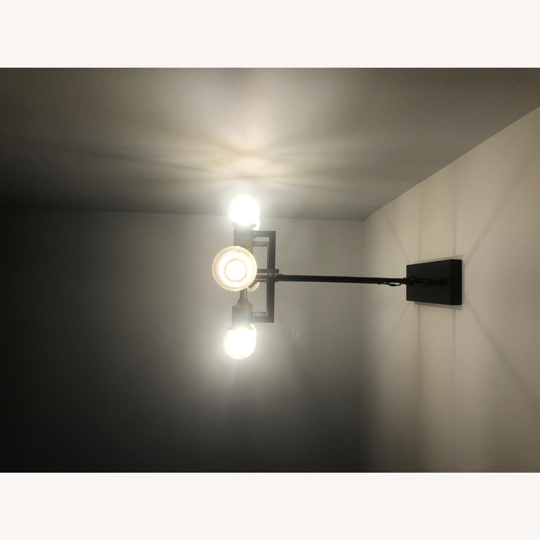 Industrial 6 Light Brass & Black Fixture - image-9