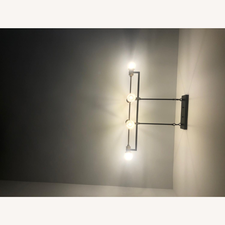 Industrial 6 Light Brass & Black Fixture - image-8