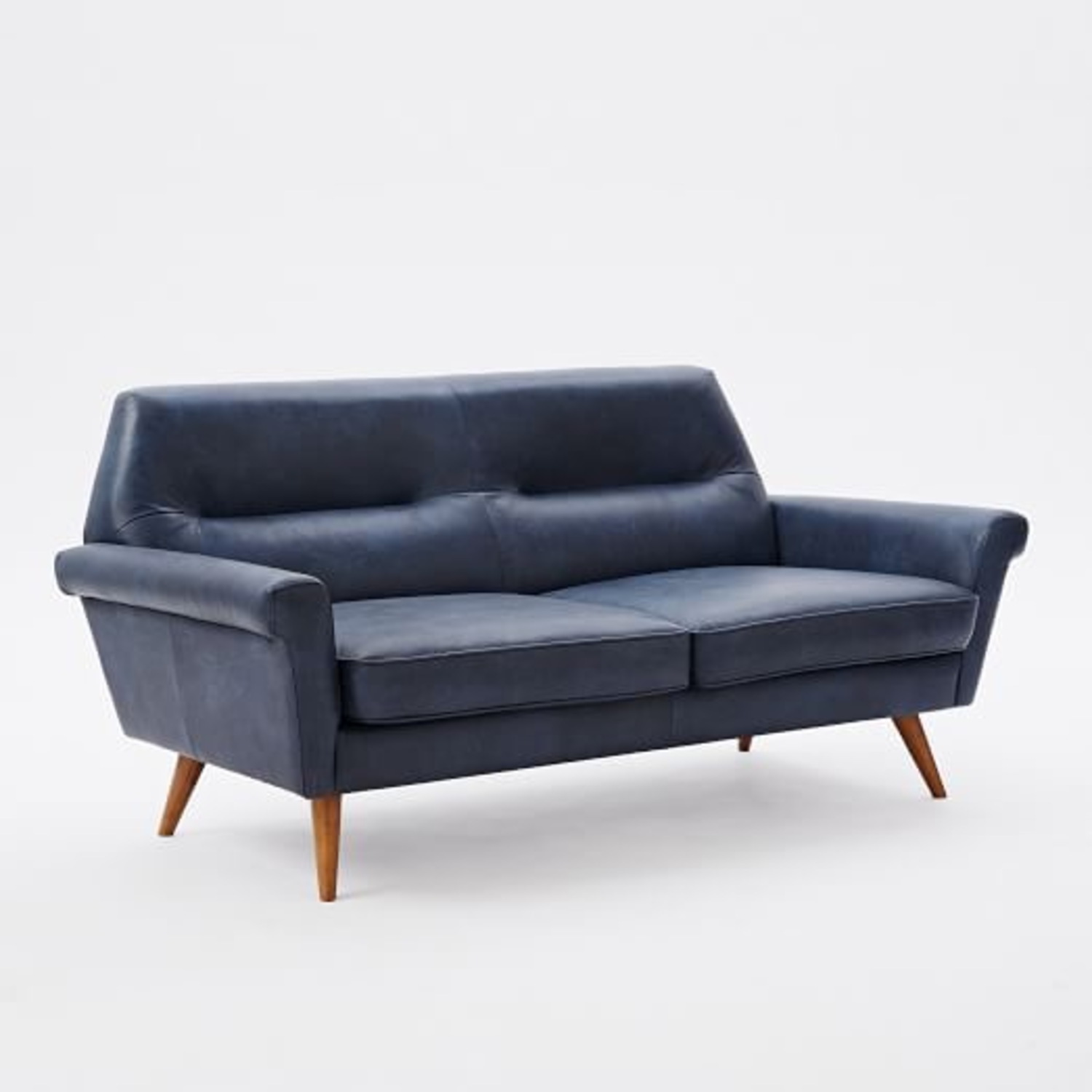 West Elm Leather 2-Seater Sofa - image-1