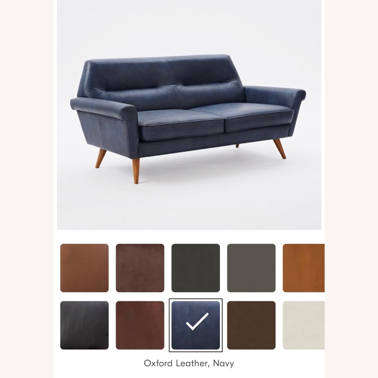 West Elm Leather 2-Seater Sofa - image-4