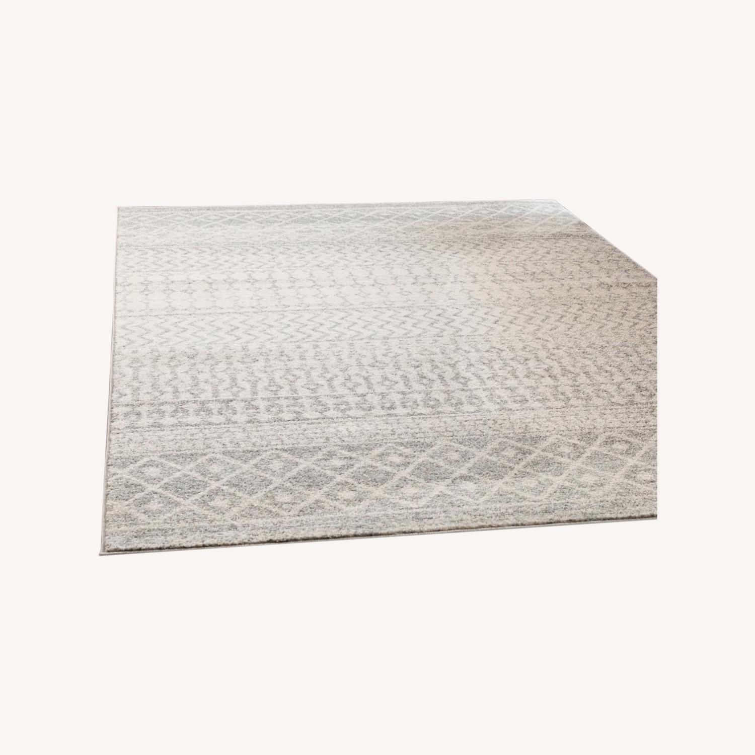 Bohemian Area Rug Antique Silver on White - image-0