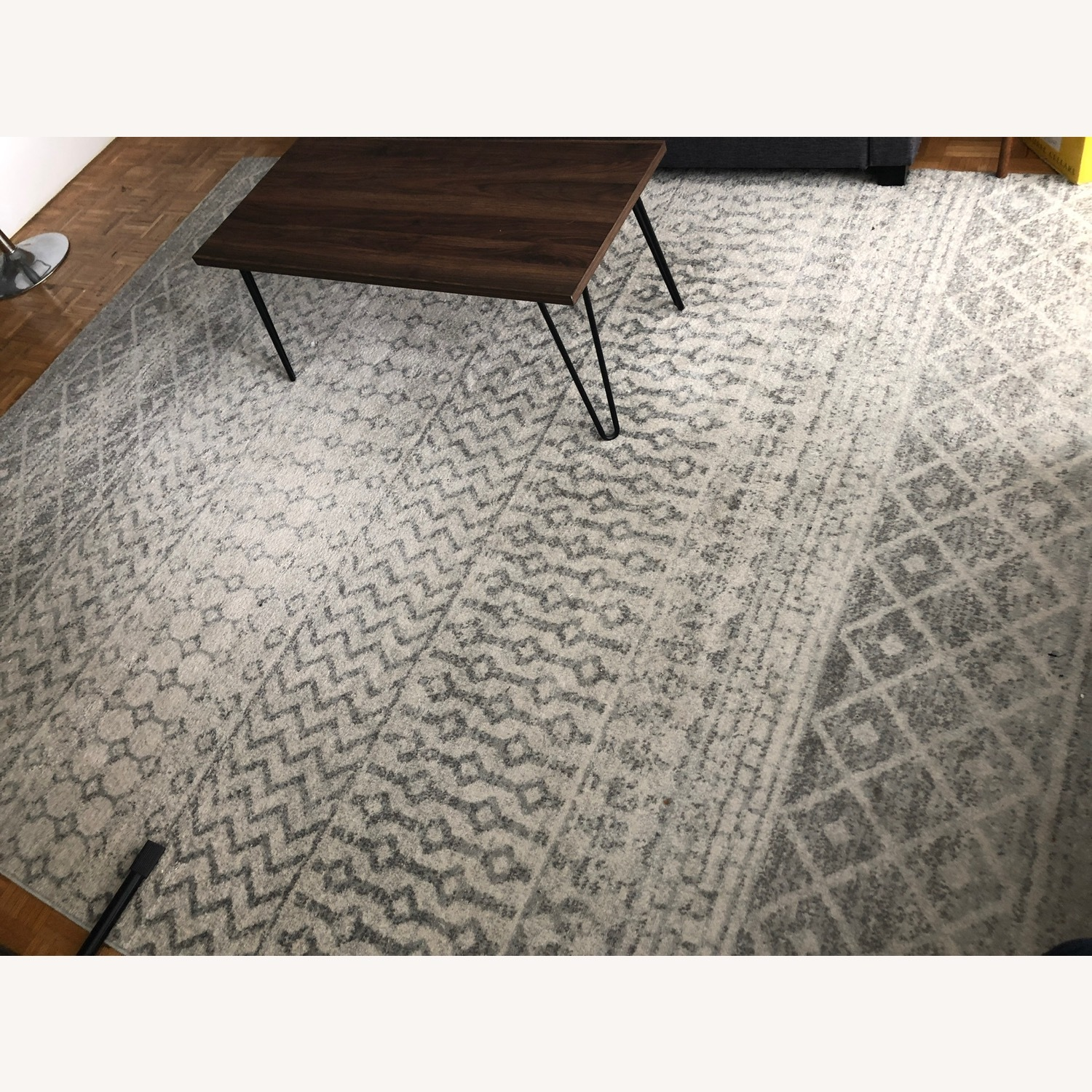 Bohemian Area Rug Antique Silver on White - image-4