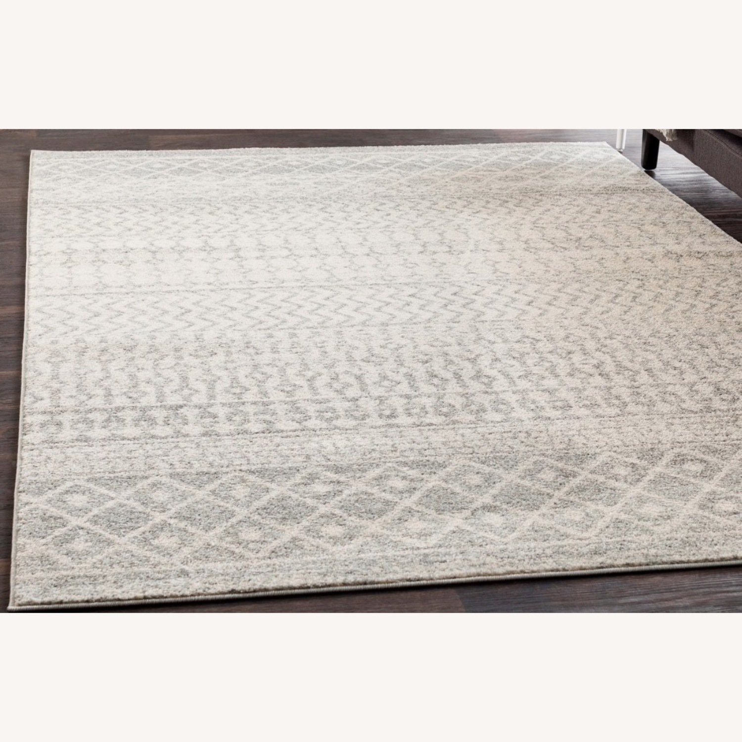 Bohemian Area Rug Antique Silver on White - image-2