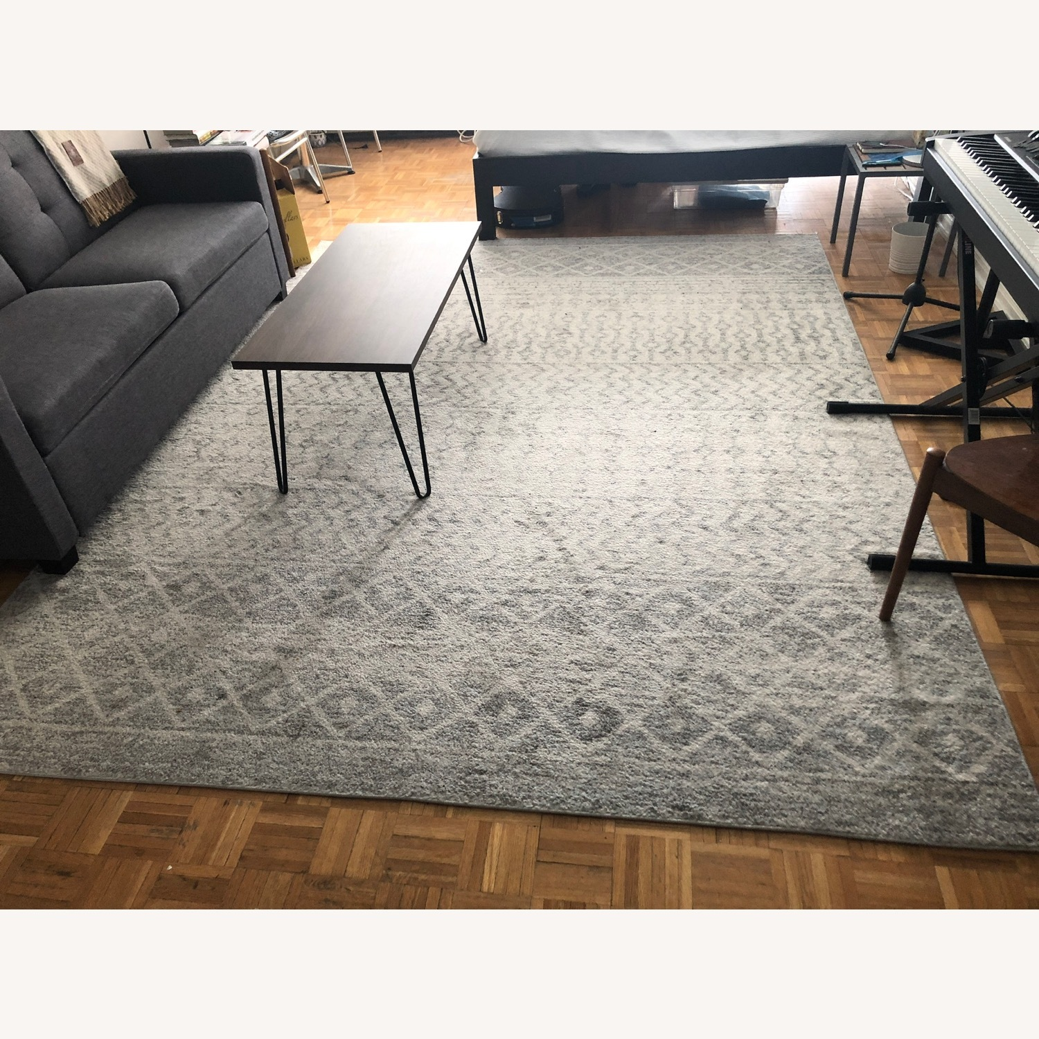 Bohemian Area Rug Antique Silver on White - image-3