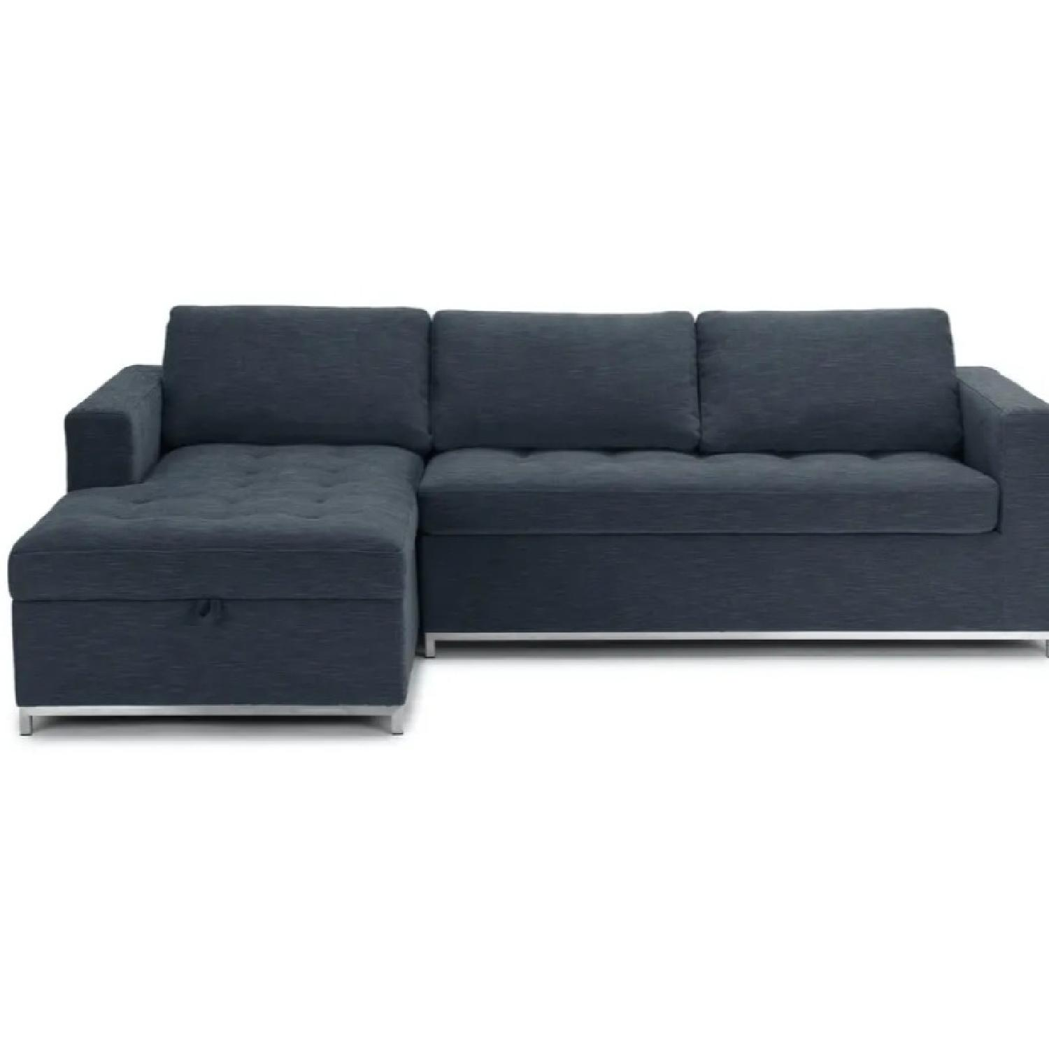 Article Soma Midnight Blue Sleeper Sectional Sofa - image-0