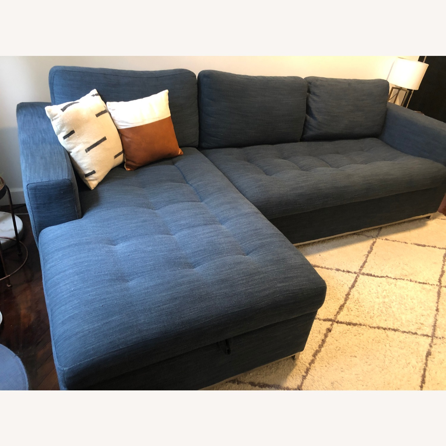 Article Soma Midnight Blue Sleeper Sectional Sofa - image-1