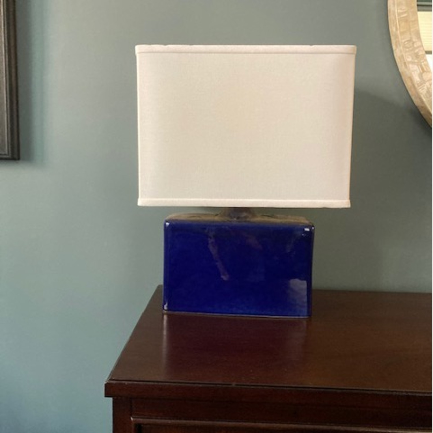 Crate & Barrel Blue Ceramic Table Lamp - image-1