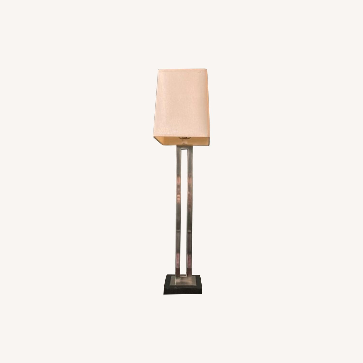 Tall Crate & Barrel silver and wood base lamp - image-0