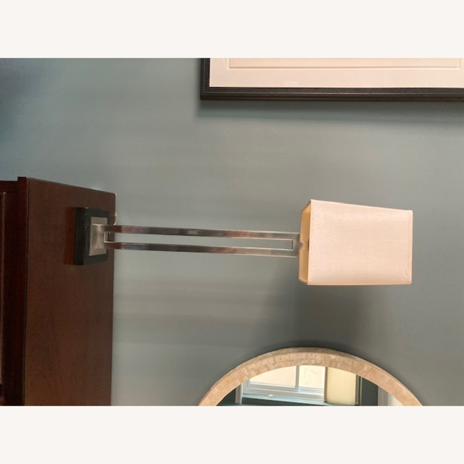 Tall Crate & Barrel silver and wood base lamp - image-5