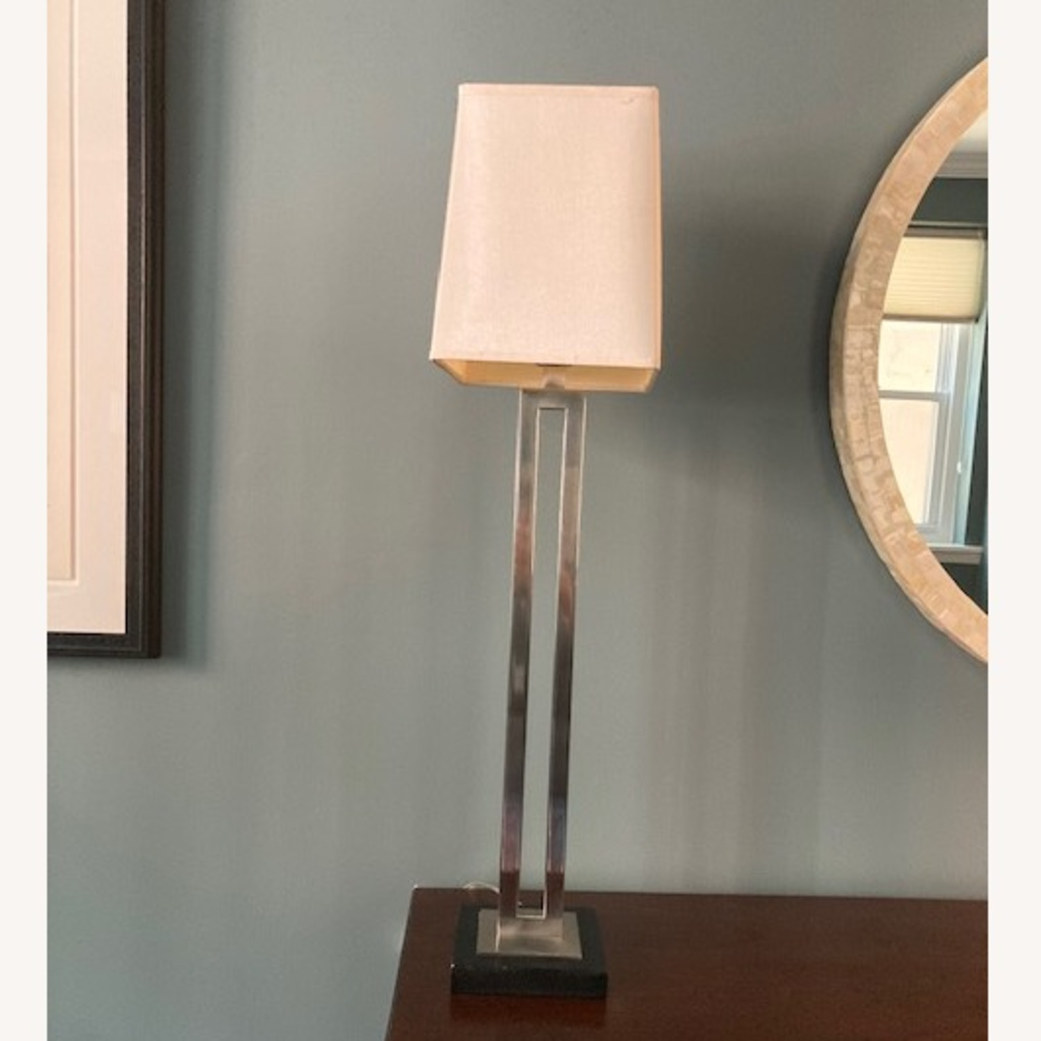 Tall Crate & Barrel silver and wood base lamp - image-2