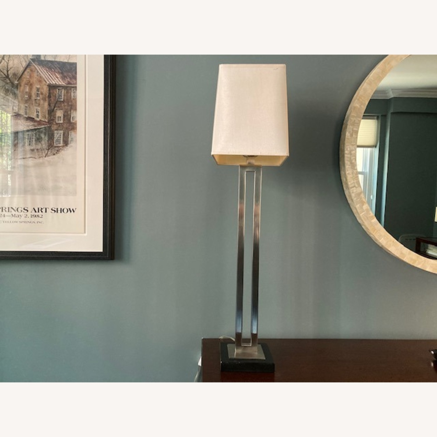 Tall Crate & Barrel silver and wood base lamp - image-3