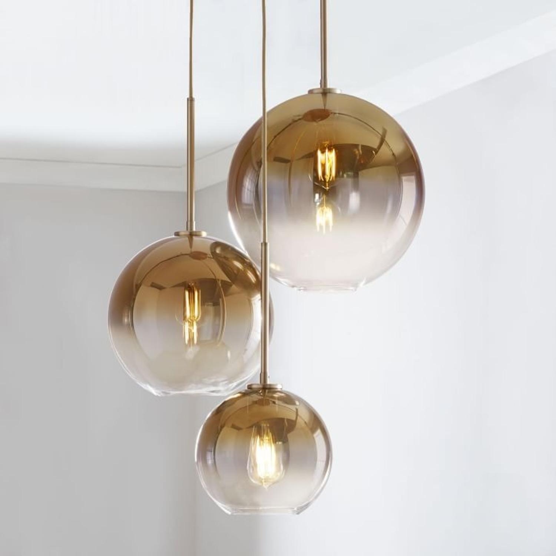 West Elm Sculptural Glass 3-Light Globe Chandelier - image-1