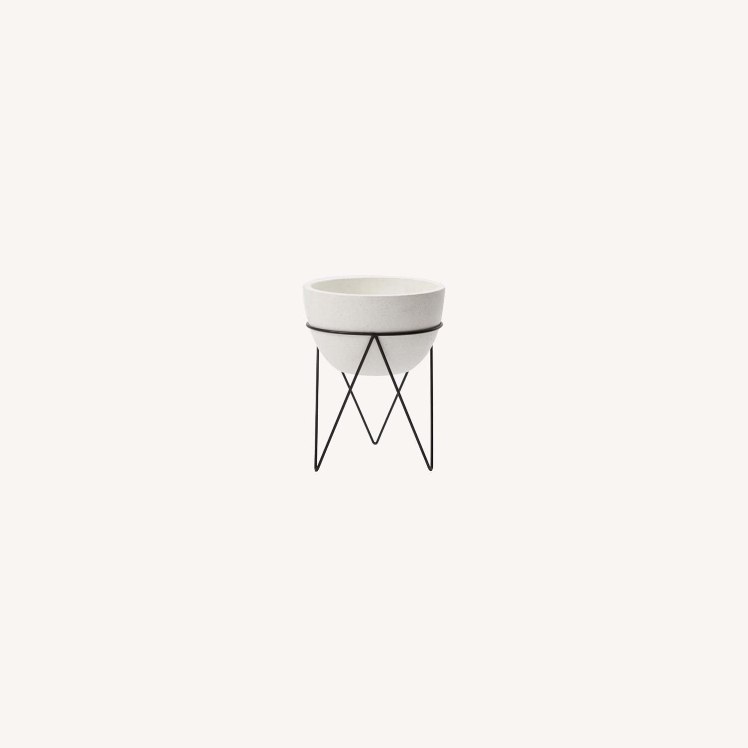 West Elm Iris Planter + Chevron Stand - image-0