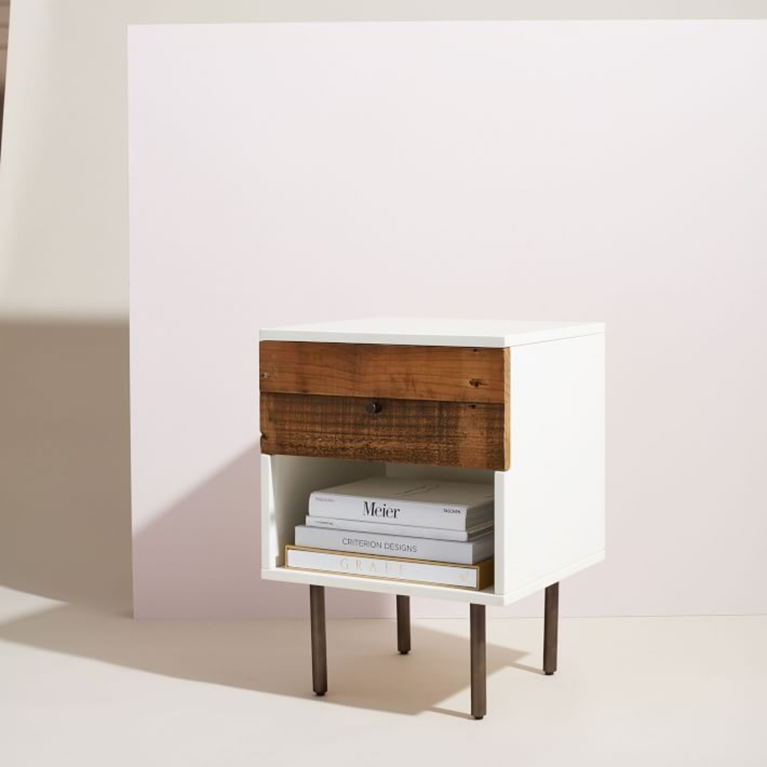 West Elm Reclaimed Wood + Lacquer Nightstand - image-3