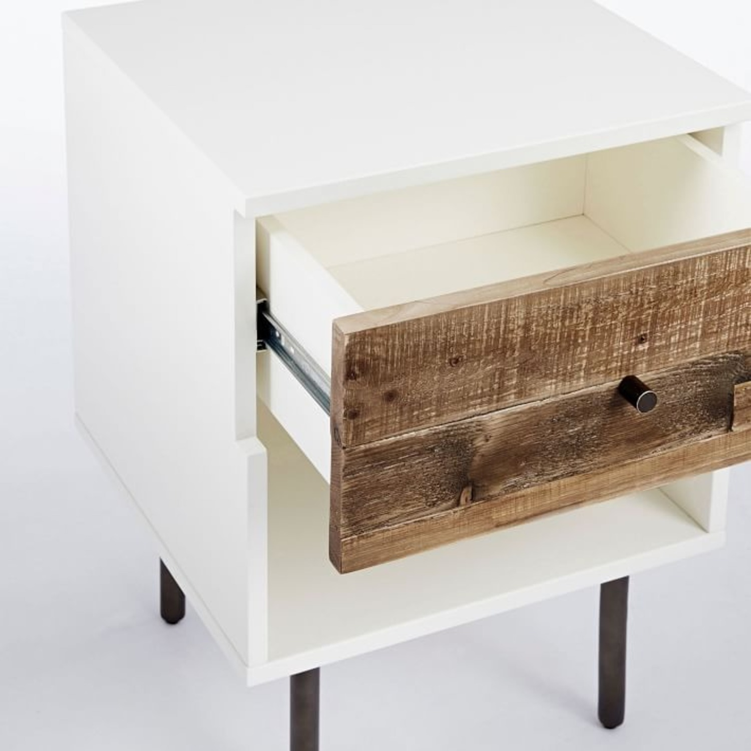 West Elm Reclaimed Wood + Lacquer Nightstand - image-2