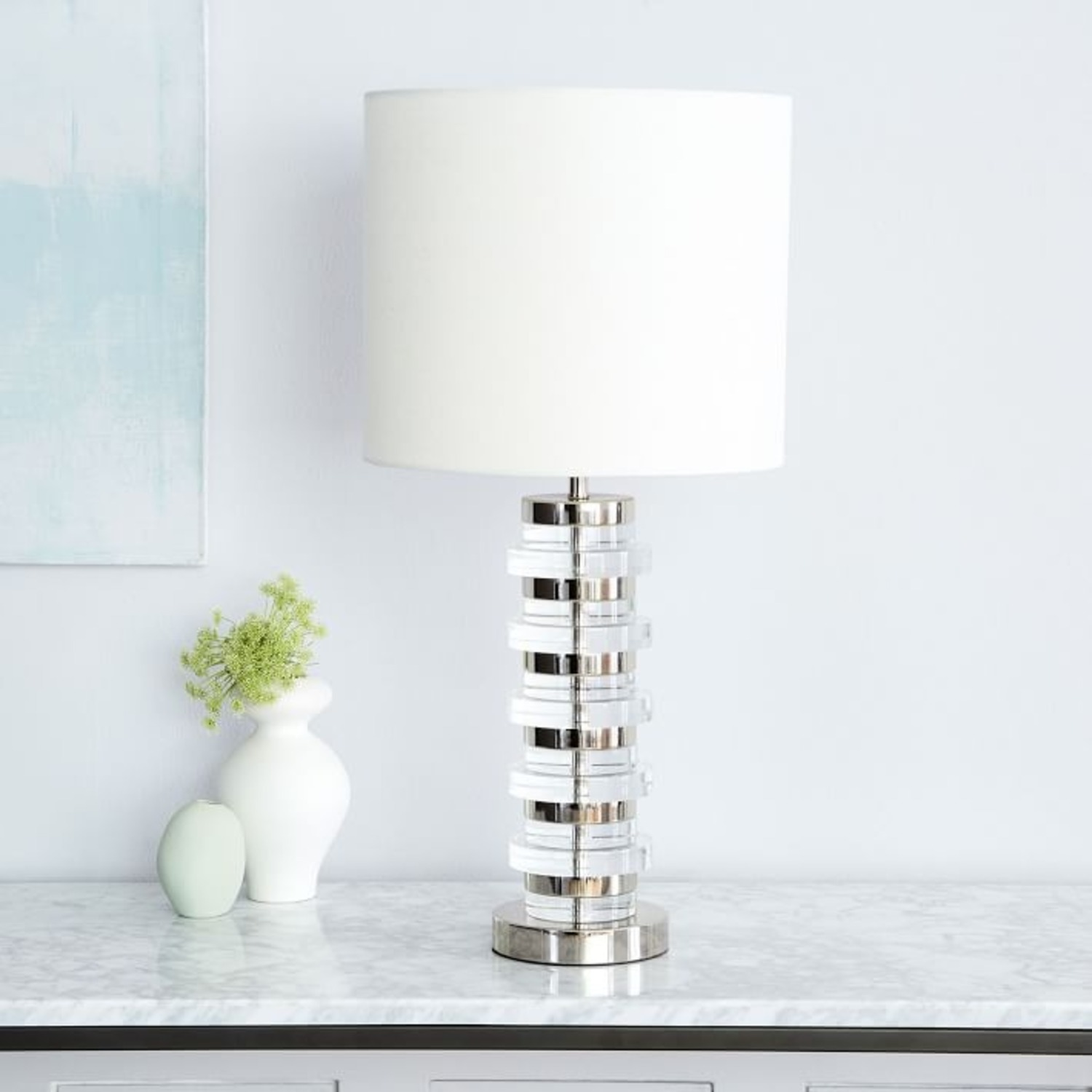 West Elm Clear Disk Table Lamp & USB - image-3