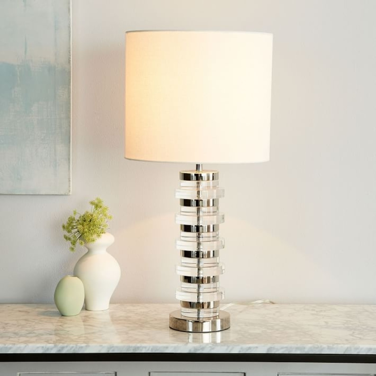 West Elm Clear Disk Table Lamp & USB - image-1