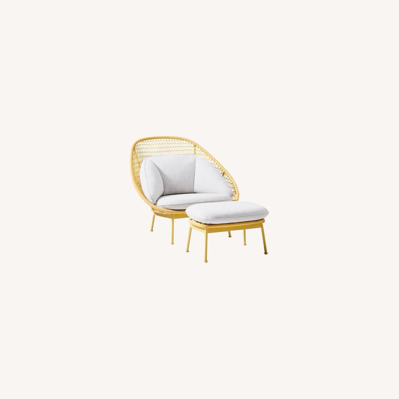 West Elm Nest Sunshine Lounge Chair + Ottoman - image-0