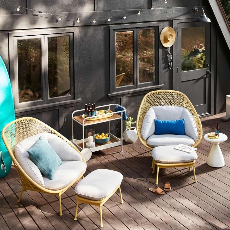 West Elm Nest Sunshine Lounge Chair + Ottoman - image-2