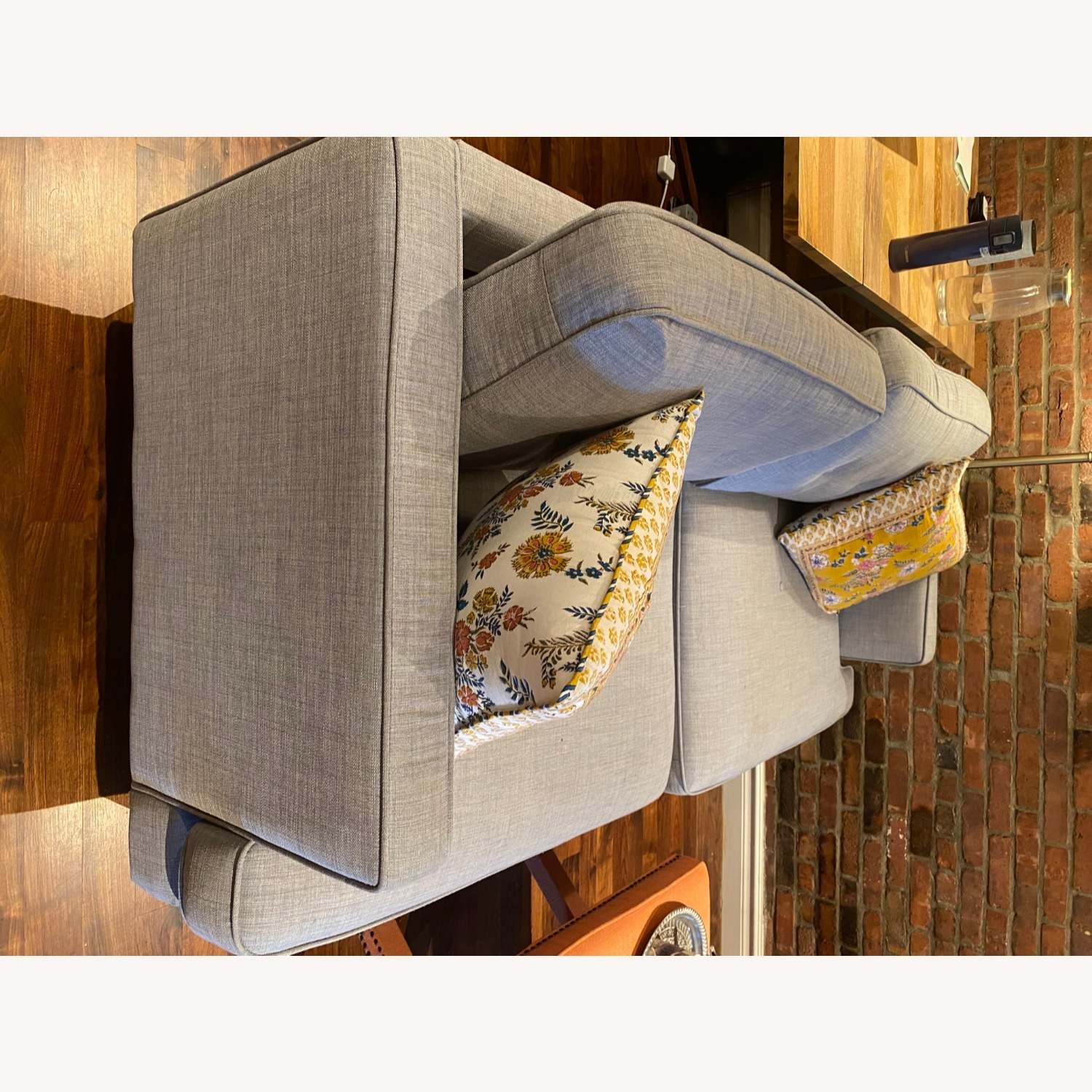World Market Dove Grey Sofa - image-3