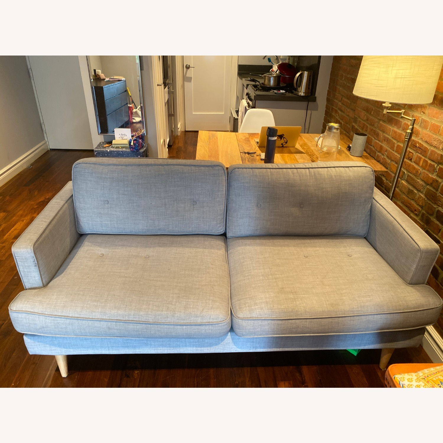World Market Dove Grey Sofa - image-4