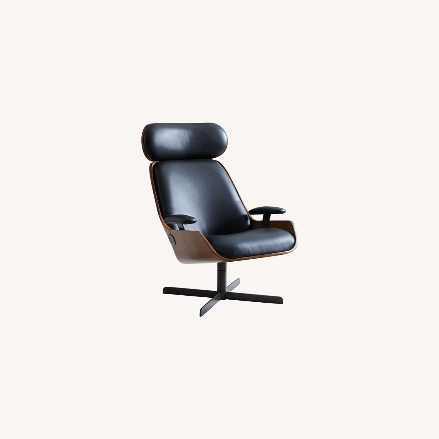 West Elm Malcolm Bentwood Leather Swivel Chair - image-0
