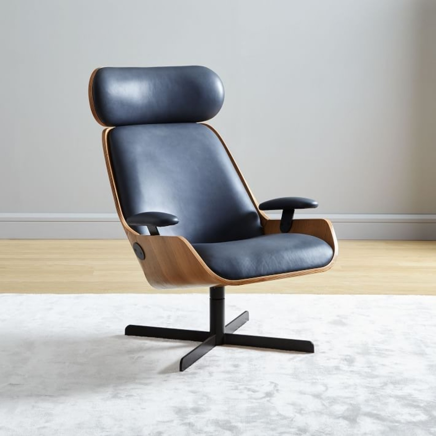 West Elm Malcolm Bentwood Leather Swivel Chair - image-1