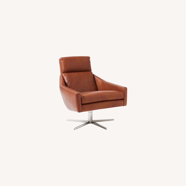West Elm Austin Leather Swivel Chair - image-0