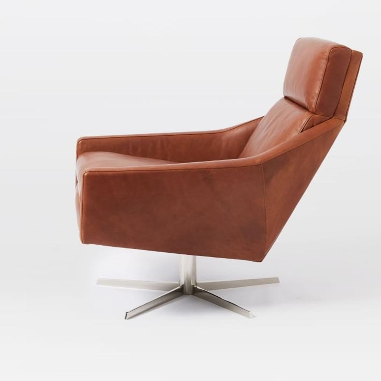 West Elm Austin Leather Swivel Chair - image-3