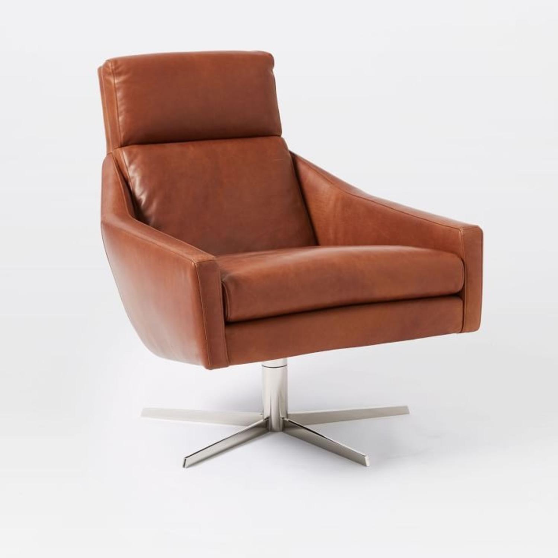West Elm Austin Leather Swivel Chair - image-1