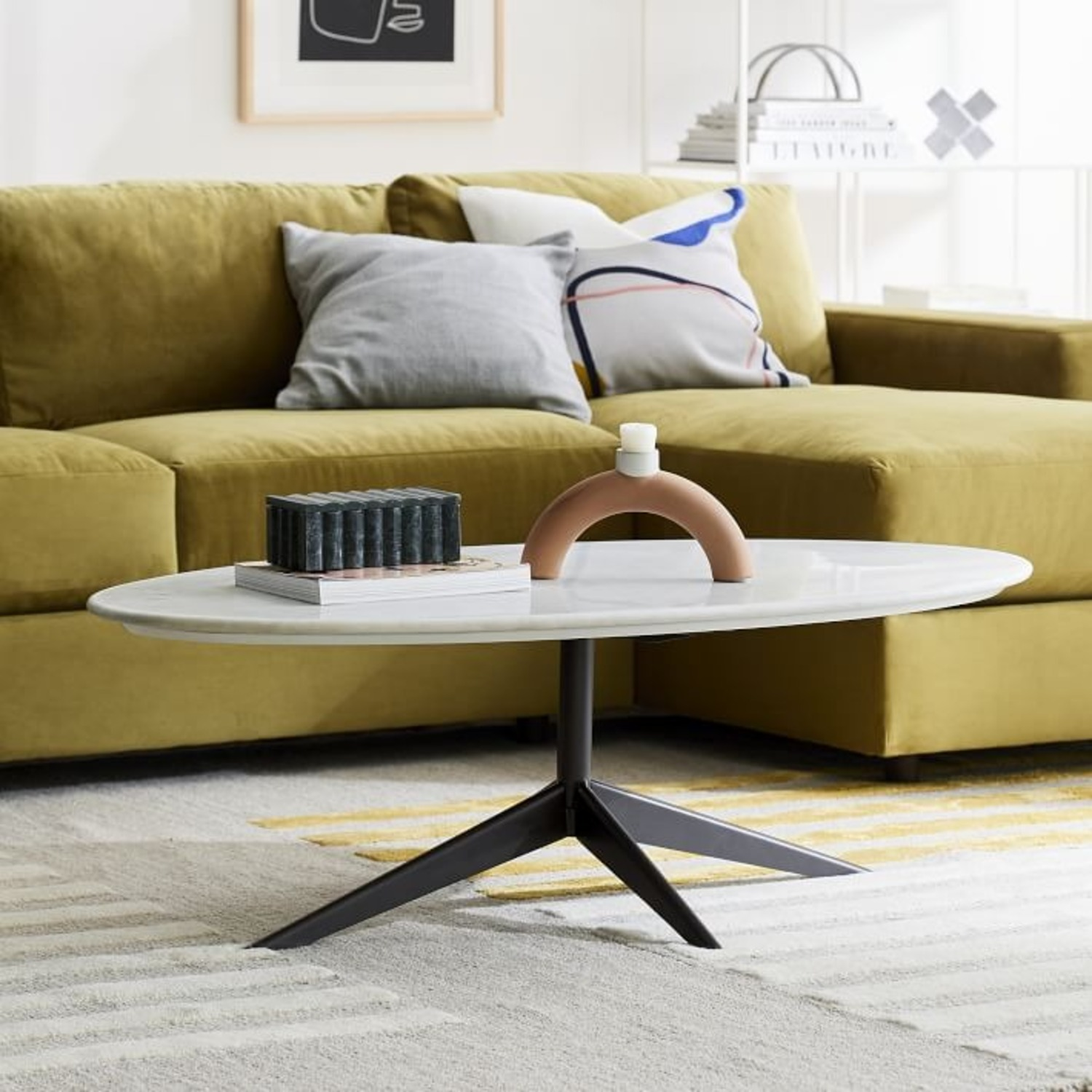 West Elm Marlow Oval Coffee Table, Marble - image-2