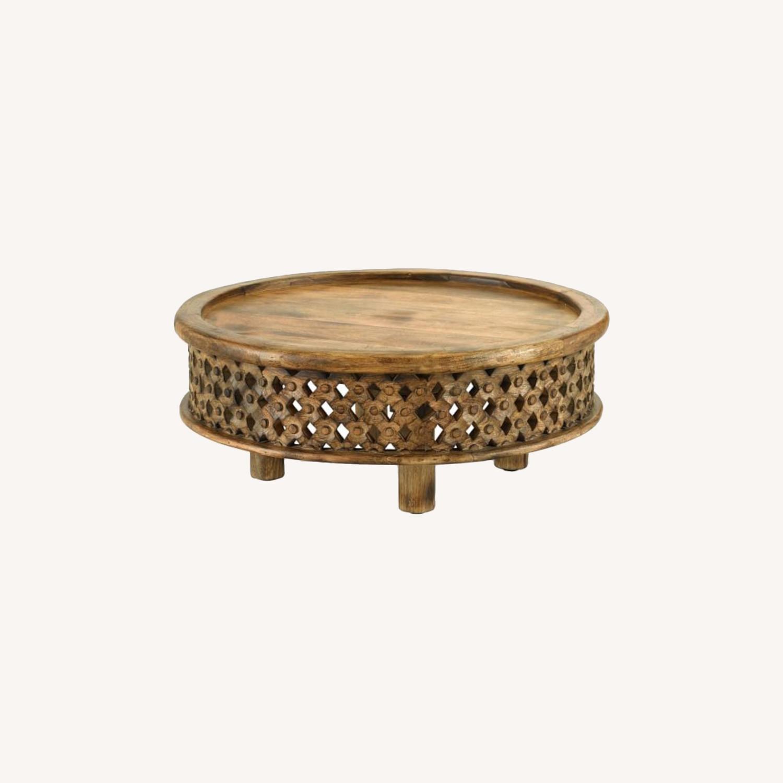 West Elm Carved Wood Coffee Table - image-0