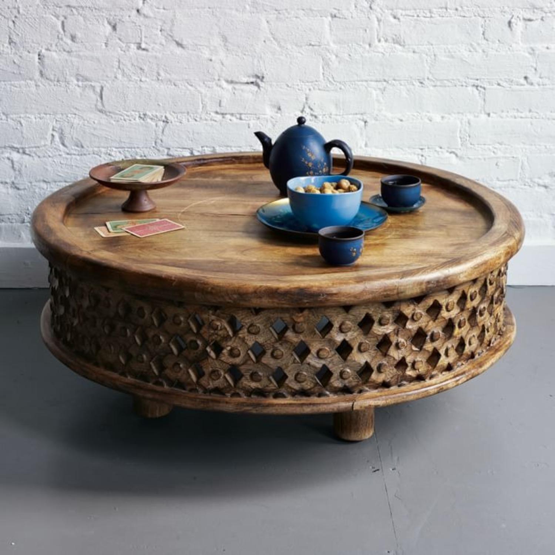 West Elm Carved Wood Coffee Table - image-2