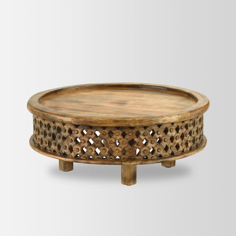 West Elm Carved Wood Coffee Table - image-1
