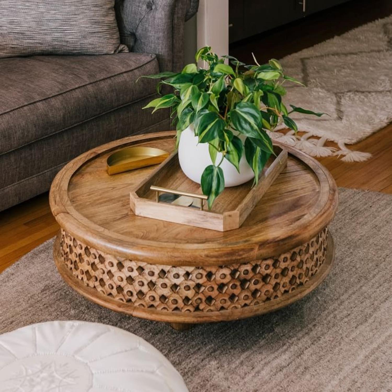 West Elm Carved Wood Coffee Table - image-3