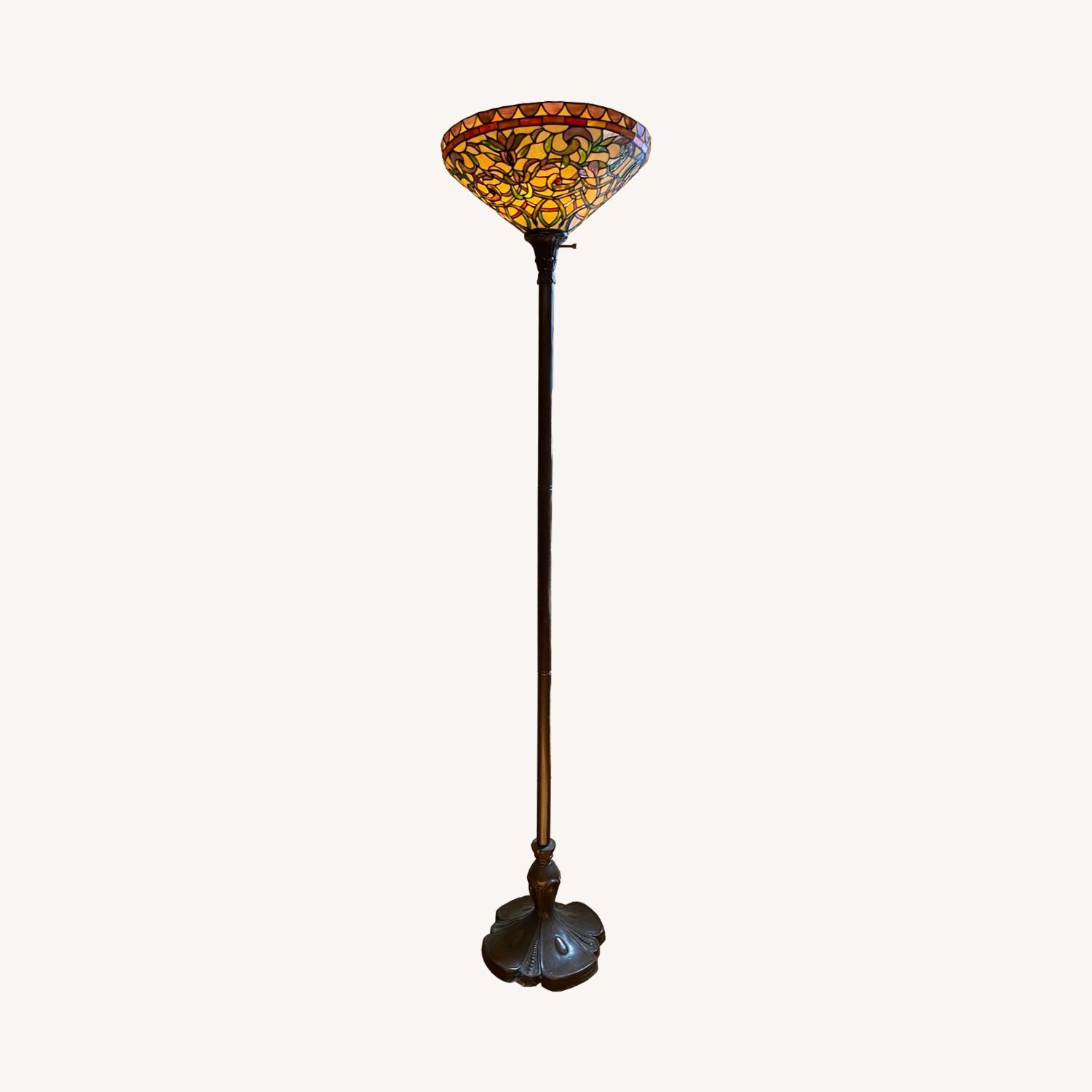 Stained Glass Torchiere Style Floor Lamp - image-0