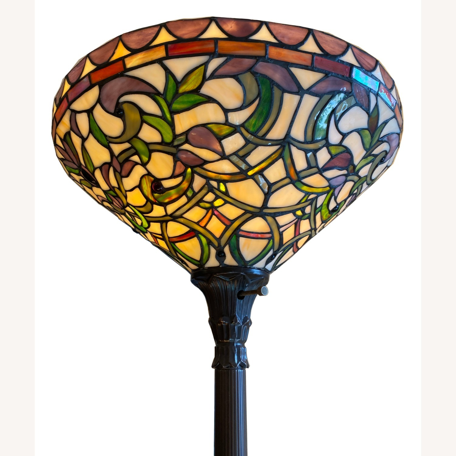 Stained Glass Torchiere Style Floor Lamp - image-2