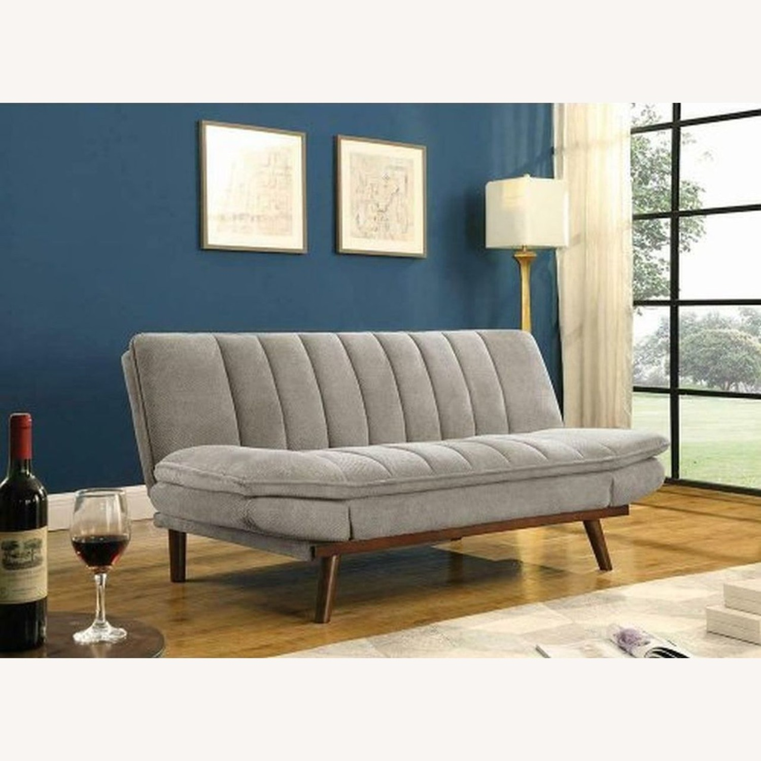 Mid Century Sofa Bed In Beige Fabric - image-2