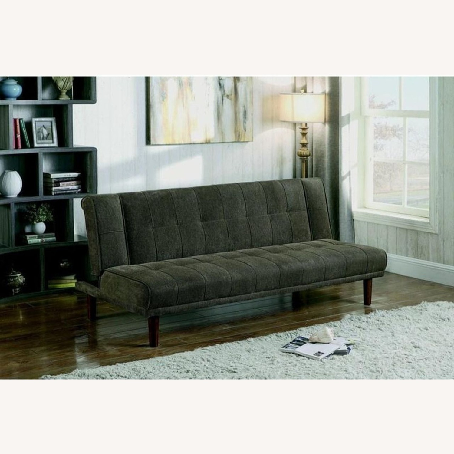 Transitional Sofa Bed In Moss Chenille Fabric - image-3