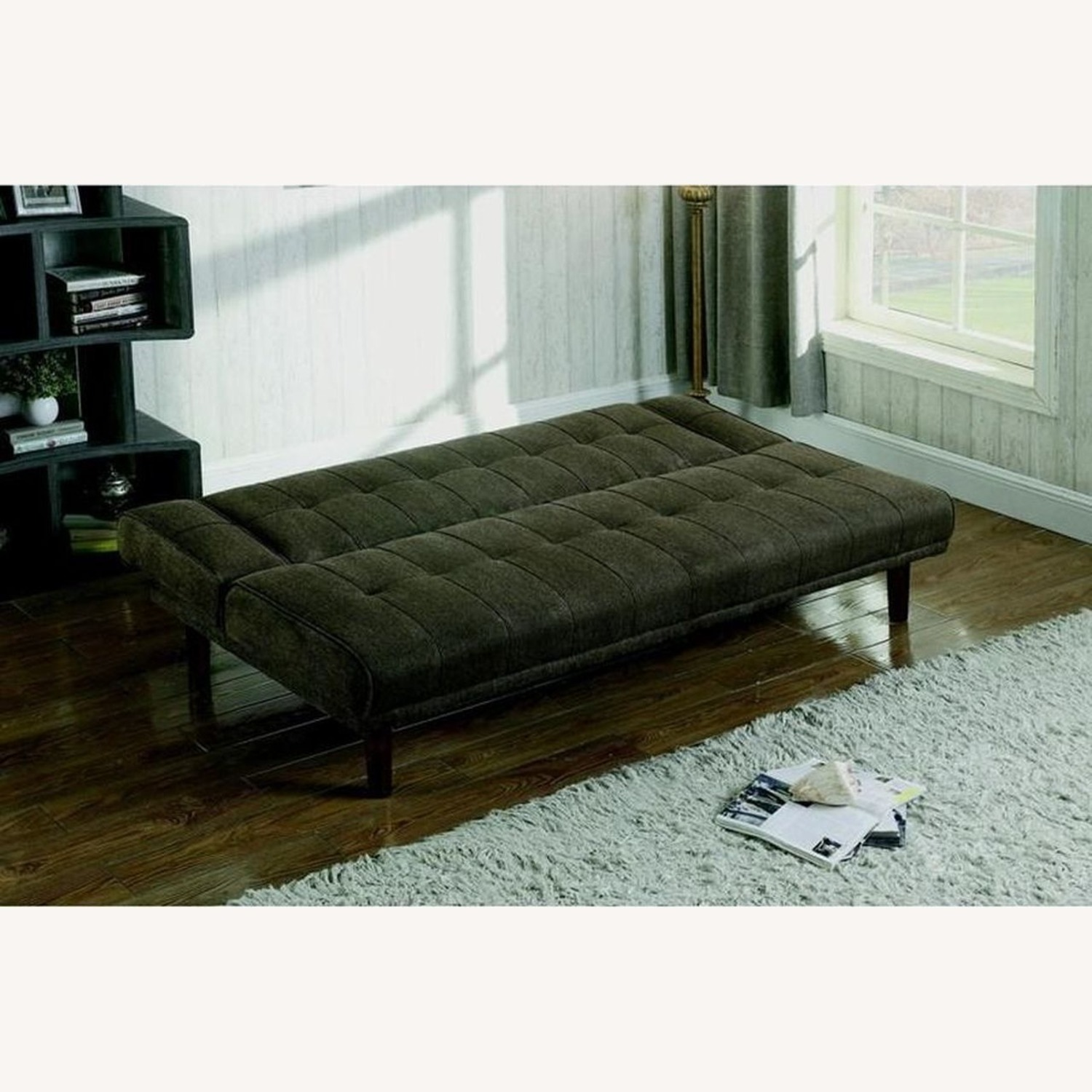 Transitional Sofa Bed In Moss Chenille Fabric - image-4