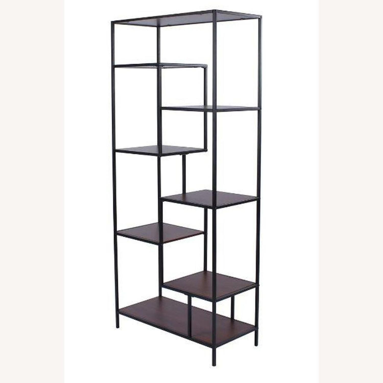 Rustic Bookcase In Walnut W/ Black Metal Frame - image-1