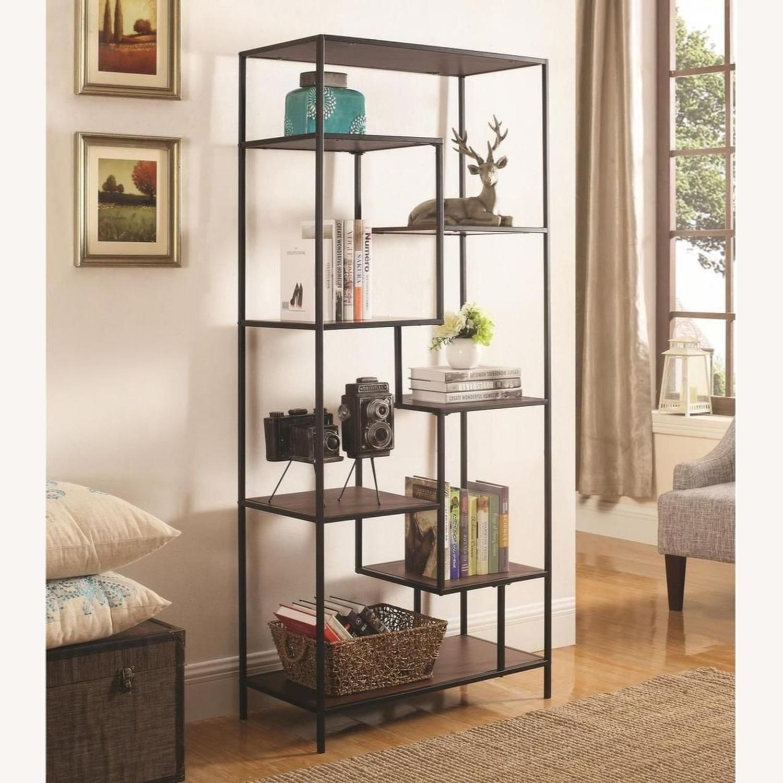 Rustic Bookcase In Walnut W/ Black Metal Frame - image-2