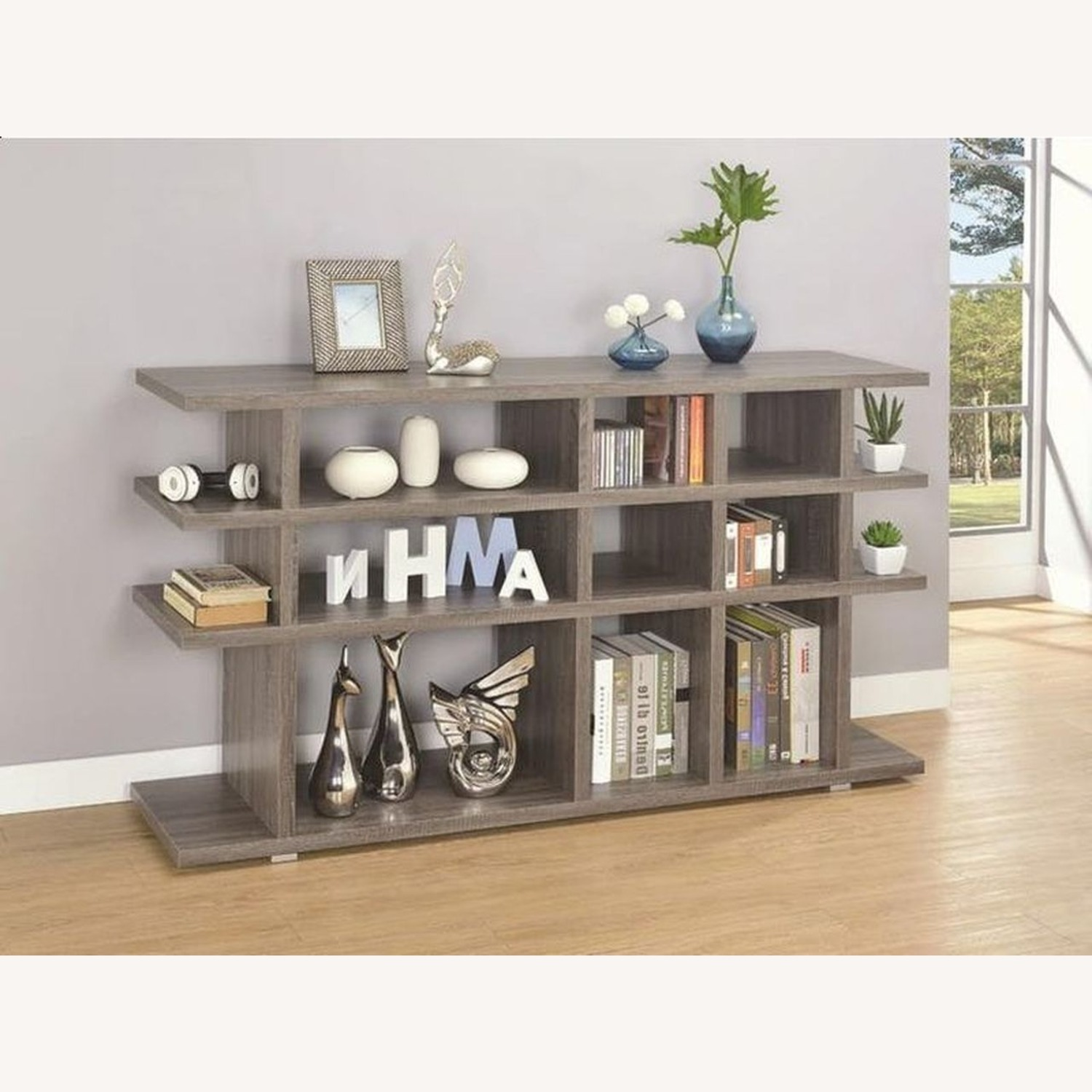 Rustic Bookcase In Weathered Grey Finish - image-2